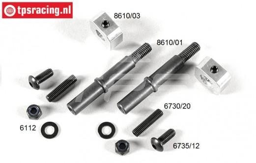 FG8610/11 Wiel as voor 9,5 mm, (M6-Ø8-L70-L9,5 mm), Set