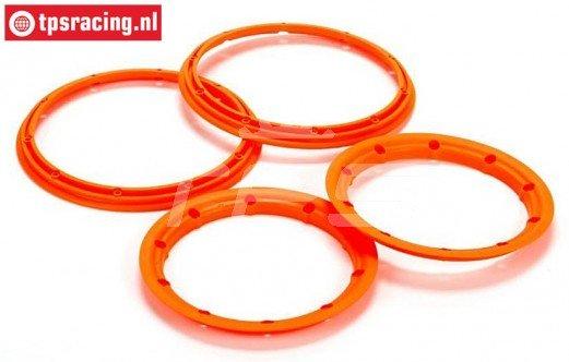 LOS45007 Beadlock Neon oranje Ø120 mm, 4 st.