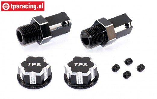TPS0292/04 24 mm Zeskant Aluminium Wiel adapter Zwart, 2 St.