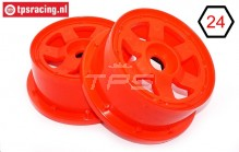 TPS5026/60RE Nylon velg 6-Spaaks Rood Ø120-B60 mm, 2 st.