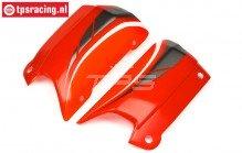 HPI102238 Kap zij deel Rood/Wit/Grijs, Set