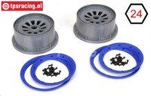 LOSB7027/B Velgen met beadlock grijs-blauw Ø120-B60 mm, Set