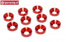 TPS1235/01 Alu verzonken ring Ø5 mm Rood, 10 st.