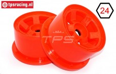TPS5028/80RE Nylon Velg 6-Spaaks Rood Ø120-B80 mm, 2 st.