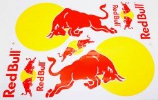 Stickers TPS, (Red Bull groot Geel-Rood), 1 st.