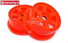 Velg, TPS 6-Spaaks Nylon Rood, (Ø120-B60 mm), 2 st.