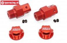 TPS0292/02R Aluminium Wiel adapter FG, Rood/rood, 2 St.
