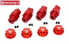 TPS0295/04 Aluminium Wiel adapter FG rood/rood, 4 St.