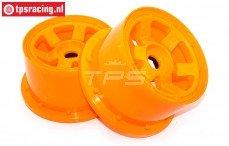 Velg, TPS 6-Spaaks Nylon Oranje, (Ø120-B80 mm), 2 st.