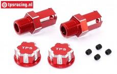 TPS0292/02 24 mm Zeskant Aluminium Wiel adapter Rood, 2 St.